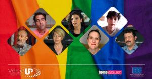 """Εικόνα στην οποία απεικονίζονται τα άτομα που μιλάνε στο βίντεο """"Ισότητα στον Γάμο"""" τα οποία βρίσκονται μπροστά από μια rainbow σημαία. Τα άτομα που εμφανίζονται είναι τα: ρηγόρης Βαλλιανάτος, Ηλίας Γιαννατσής, Μιχάλης Οικονόμου, Κατερίνα Τρίμμη, Χριστίνα Τριχά , Έλενα - Όλγα Χρηστίδη και Terry Reintke"""